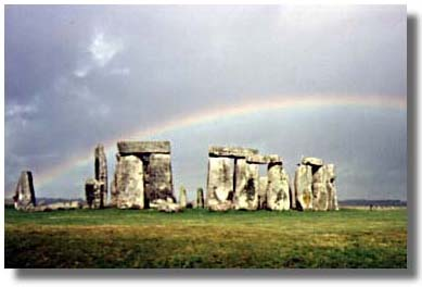 An Awakening Moment: Stonehenge with Rainbow